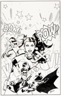 Original Comic Art:Covers, Emanuela Luppachino and Tomeu Morey Batman and Robin #39Harley Quinn Variant Cover Original Art (DC, 2015)....