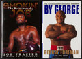 Boxing Collectibles:Autographs, Joe Frazier and George Foreman Signed Hardcover Books Lot of 2....
