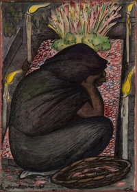 DIEGO RIVERA (Mexican, 1886-1957) Velorio, 1928 Watercolor on rice paper 15-1/4 x 11 inches (38.7