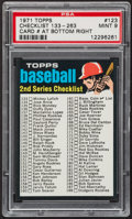 Baseball Cards:Singles (1970-Now), 1971 Topps Checklist 133-263 #123 PSA Mint 9 - Pop Two, NoneHigher....