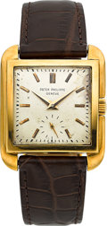 Timepieces:Wristwatch, Patek Philippe Ref. 2486 Fine & Rare Square 18k Gold Wristwatch, circa 1950. ...