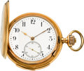 Timepieces:Pocket (pre 1900) , Swiss Large Gold Minute Repeating Hunters Case, circa 1895. ...