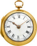 Timepieces:Pocket (pre 1900) , George Peacock Royal Exchange London Early Gold Pair Cased Verge,circa 1775. ...