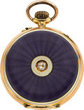 Timepieces:Pocket (post 1900), Swiss Enamel & Gold Miniature Watch With Diamond, circa 1910....