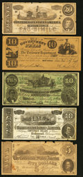 Confederate Notes:Group Lots, Facsimile Confederate Notes and More with Advertising/Political Onthe Back.. ... (Total: 5 notes)