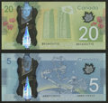 Canadian Currency: , Canada $5 and $20.. ... (Total: 2 notes)
