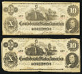 Confederate Notes:1862 Issues, T46 $10 1862 PF-2 Cr. 343, Two Examples.. ... (Total: 2 notes)
