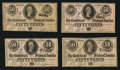 Confederate Notes:1864 Issues, T72 50 Cents 1864 PF-1 Cr. 578, Four Examples.. ... (Total: 4 notes)