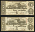 Confederate Notes:1863 Issues, T60 $5 1863, Two Examples.. ... (Total: 2 notes)