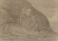 Fine Art - Work on Paper:Drawing, Alphonse Legros (French, 1837-1911). Two Children with a DeadMan. Pencil and ink wash on paper laid on board. 7 x 10-1/...