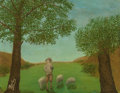 Fine Art - Painting, European:Modern  (1900 1949)  , André Bauchant (French, 1873-1958). Shepherd and Flock,1925. Oil on panel. 19-1/2 x 25-3/8 inches (49.5 x 64.5 cm). Sig...