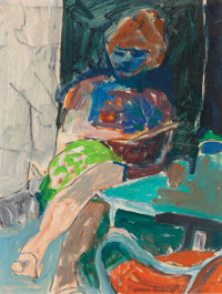 William Theophilus Brown (American, 1919-2012) Woman with Red Chair, 1961 Oil on paper 10-3/4 x 8
