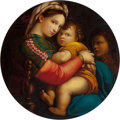 Fine Art - Painting, European:Contemporary   (1950 to present)  , After Raphael (Italian, 20th Century). Madonna della Sedia. Oil on panel. 28 inches (71.1 cm) diameter (circle). ...