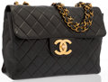 """Luxury Accessories:Bags, Chanel Black Quilted Lambskin Leather Jumbo Single Flap Bag withGold Hardware. Good Condition. 12"""" Width x 8"""" Height..."""