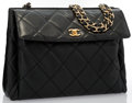 "Luxury Accessories:Bags, Chanel Black Quilted Caviar Leather Shoulder Bag with GoldHardware. Good Condition. 12"" Width x 9"" Height x 4.5""Dept..."