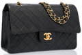 "Luxury Accessories:Bags, Chanel Black Quilted Lambskin Leather Medium Double Flap Bag withGold Hardware. Good Condition. 10"" Width x 6""Height..."