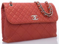 "Luxury Accessories:Bags, Chanel Red Quilted Leather Flap Bag with Silver Hardware. GoodCondition. 12"" Width x 9"" Height x 3"" Depth, 17""Should..."