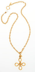 "Luxury Accessories:Accessories, Chanel Gold Quatrefoil Necklace . Very Good Condition.29"" Length. ..."