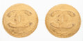 "Luxury Accessories:Accessories, Chanel Gold Foil Round CC Earrings . Very Good Condition . 1.5"" Width x 1.5"" Length . ..."