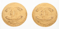 "Chanel Gold Foil Round CC Earrings Very Good Condition 1.5"" Width x 1.5"" Length"