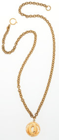 """Luxury Accessories:Accessories, Chanel Gold Sphere Logo Pendant Necklace . Very GoodCondition . 32"""" Length . ..."""