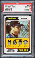 Baseball Cards:Singles (1970-Now), 1974 Topps Red Sox Mgr./Coaches #403 PSA Gem Mint 10 - PopThree....