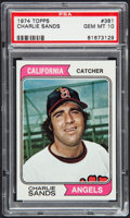 Baseball Cards:Singles (1970-Now), 1974 Topps Charlie Sands #381 PSA Gem Mint 10 - Pop Two....