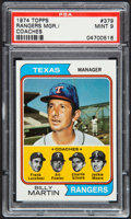 Baseball Cards:Singles (1970-Now), 1974 Topps Rangers Mgr./Coaches #379 PSA Mint 9....