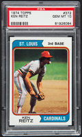 Baseball Cards:Singles (1970-Now), 1974 Topps Ken Reitz #372 PSA Gem Mint 10 - Pop Two....