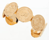 """Chanel Gold Coin Cuff Bracelet Very Good to Excellent Condition 1"""" Width x 2.5"""" Diameter"""