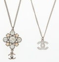 """Luxury Accessories:Accessories, Chanel Set of Two; Silver Crystal CC Necklace & Silver CrystalPendant Necklace . Very Good Condition . 16"""" Length,18..."""