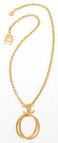 """Luxury Accessories:Accessories, Chanel Gold CC Loop Necklace . Very Good Condition . 22""""Length . ..."""