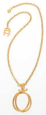 """Chanel Gold CC Loop Necklace Very Good Condition 22"""" Length"""