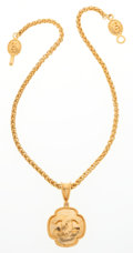 "Luxury Accessories:Accessories, Chanel Gold Necklace with Quatrefoil CC Pendant . Very GoodCondition . 20"" Length . ..."