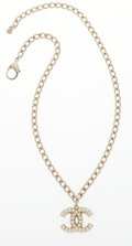 """Luxury Accessories:Accessories, Chanel Silver & Glass Pearl CC Necklace. Very GoodCondition. 1"""" Width x 20"""" Length. ..."""