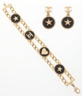 """Luxury Accessories:Accessories, Chanel Set of Two; Black & Gold Enamel Earrings & Bracelet.Excellent Condition. .5"""" Width x .5"""" Height. 6""""Length..."""