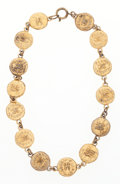 """Luxury Accessories:Accessories, Chanel Gold CC Medallion Necklace. Good to Very Good Condition..5"""" Width x 15.5"""" Length. ..."""