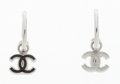 """Luxury Accessories:Accessories, Chanel Silver & Black Enamel CC Earrings. Very GoodCondition. .5"""" Width x .5"""" Length. ..."""