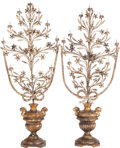 Decorative Arts, Continental:Other , A Pair of Spanish Colonial Giltwood and Wrought Iron Nine-Light Candelabra, 19th century. 52-1/2 inches high x 22 inches wid... (Total: 4 Items)