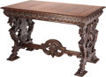 Furniture : Continental, An Italian Renaissance-Style Mahogany Trestle Table, early 20thcentury. 32-1/2 inches high x 50 inches wide x 30-1/2 inches...