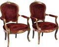 Furniture : French, A Pair of Regence-Style Upholstered Boullework Fauteuils, 19thcentury. 39-3/4 inches high x 26 inches wide x 22-1/2 inches ...(Total: 2 Items)