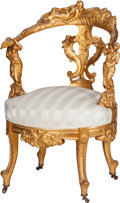 Furniture , A Venetian Upholstered Giltwood Slipper Chair, 19th century. 35 inches high x 23 inches wide x 21 inches deep (88.9 x 58.4 x...