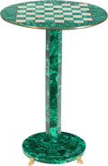 Furniture : Continental, A Malachite Game Table, 20th century. 27 inches high x 18-1/2inches diameter (68.6 x 47.0 cm). ...