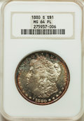 1880-S $1 MS64 Prooflike NGC. NGC Census: (3791/2849). PCGS Population: (4598/3565). MS64. Mintage 8,900,000. ...(PCGS#...