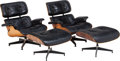 Furniture : American, A Pair of Ray and Charles Eames 670 Armchairs and 671Ottomans, 20th century. 31 inches high x 33 in... (Total: 4 Items)