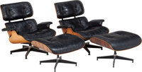 A PAIR OF RAY AND CHARLES EAMES 670 ARMCHAIRS AND 671 OTTOM