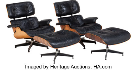 A Pair of Ray and Charles Eames 670 Armchairs and 671 Ottomans, 20th century 31 inches high x 33 in... (Total: 4 Items)