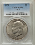 Eisenhower Dollars, 1972 $1 Type Two MS64 PCGS. PCGS Population (522/77). Numismedia Wsl. Price for problem free NGC/PCGS c...