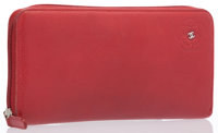 """Chanel Red Leather Camellia Flower Zip Wallet With Silver Hardware Excellent Condition 4"""" Width x"""
