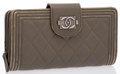 "Luxury Accessories:Accessories, Chanel Green Quilted Lambskin Leather Boy Long Wallet with SilverHardware. Good Condition. 7.5"" Width x 4"" Height x1..."